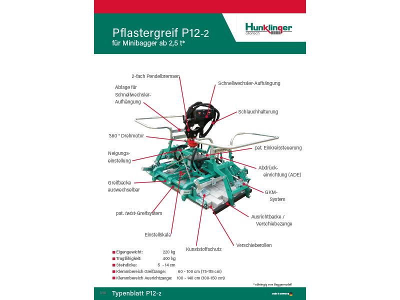 Typenblatt Verlegezange P12-2