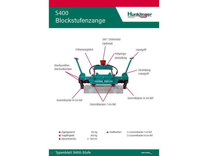 Typenblatt Blockstufenzange S400